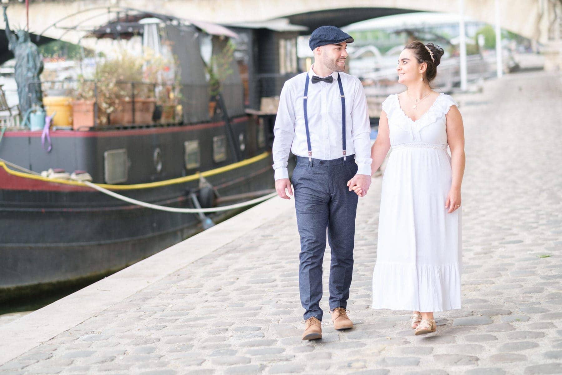 Brautpaar am Wasser Paris
