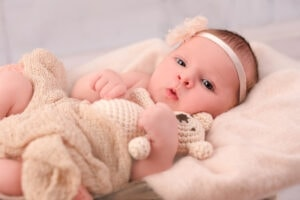 Neugeborenen Fotografie Stofftier Bär Stirnband